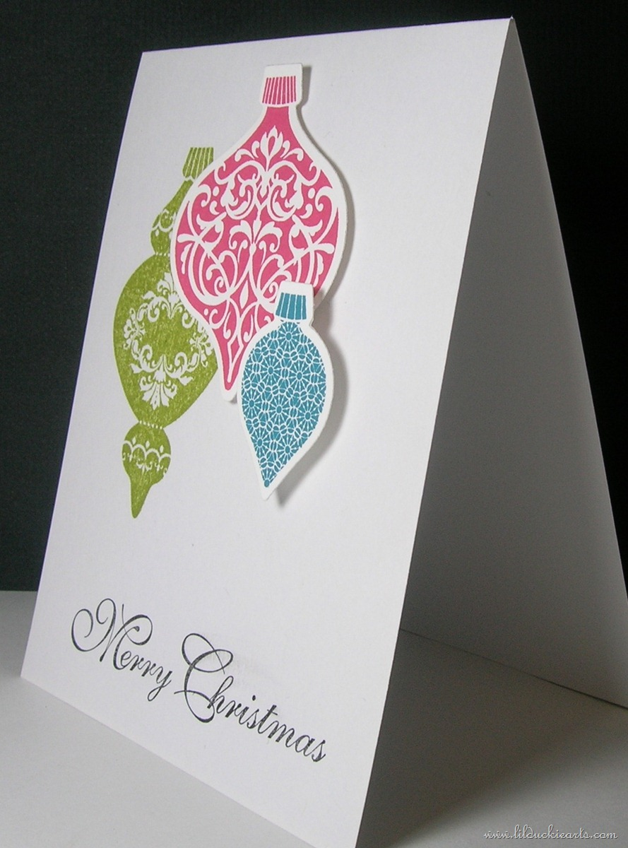 Clean and Simple Christmas Ornaments Card | Lil Duckie Arts